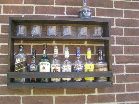 Amazing Hanging Liquor Cabinet   Rustic Liquor Rack With Glass Storage   Rustic  Hanging Liquor Cabinet