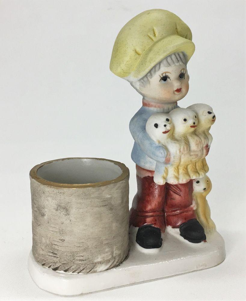 Vntg little luvkins jasco boy with puppies porcelain votive