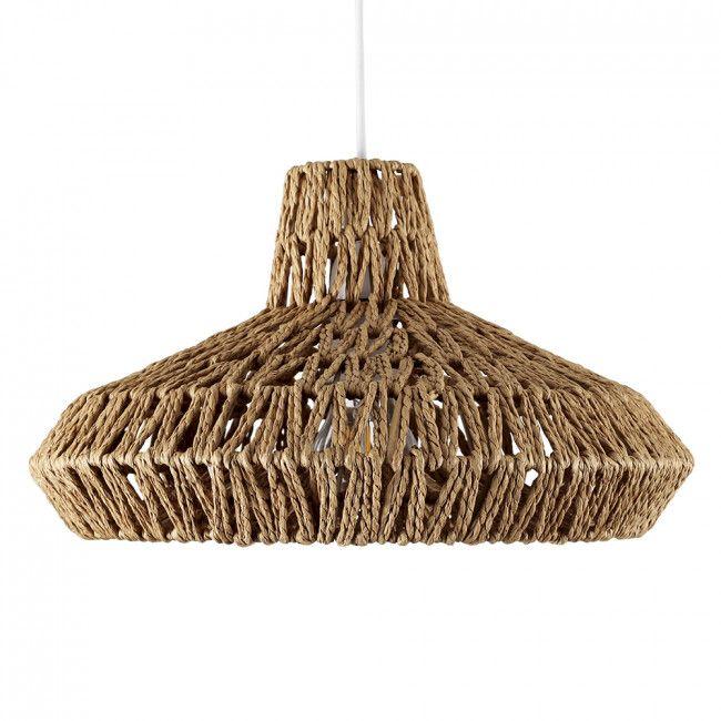 Vintage Hamilton Wicker Weave Wooden Pendant Shade White Living Room Lightinglight