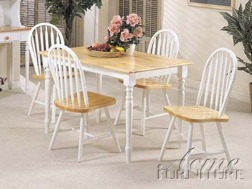 5pc White Amp Natural Finish Wood Dining Table 4 Windsor Chair Set By Acme