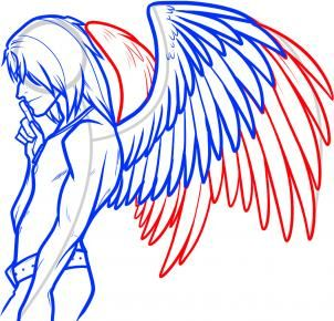 How To Draw An Angel Boy Angel Man Step 10 Wings Drawing Angel Drawing Drawing Techniques