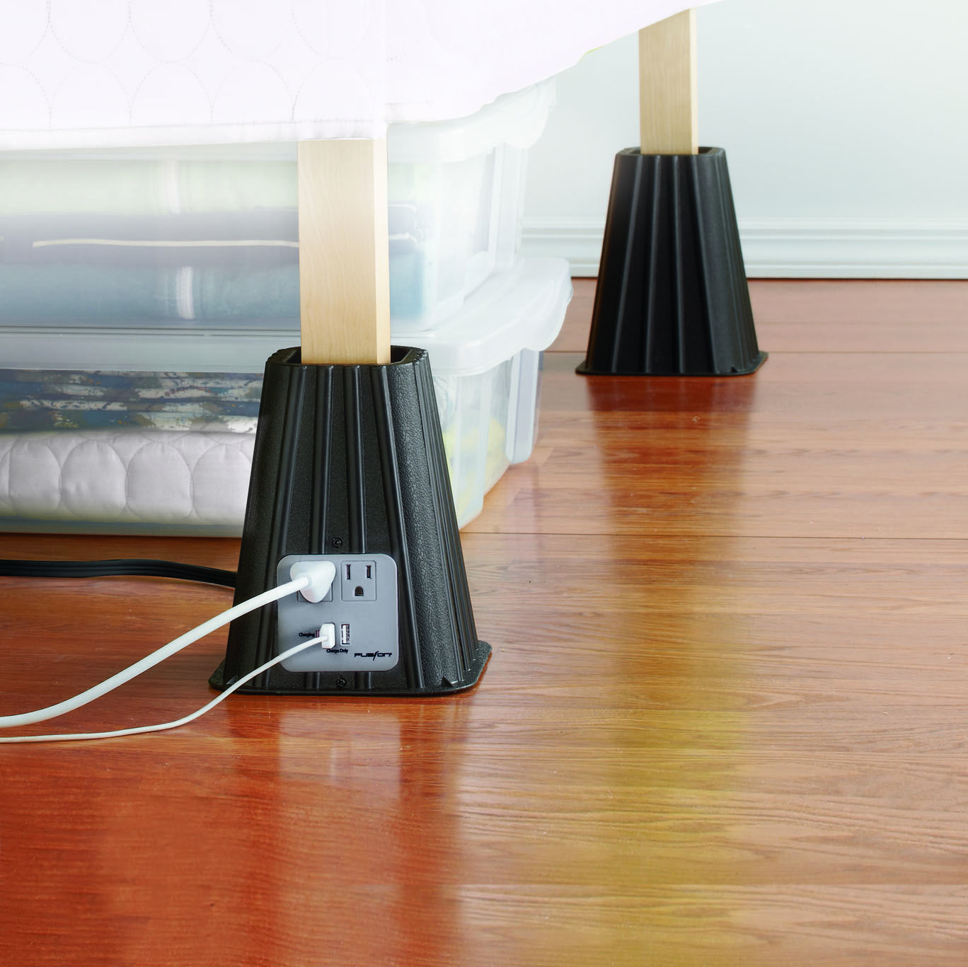 Create more space AND have more outlets? How awesome are these bed ...