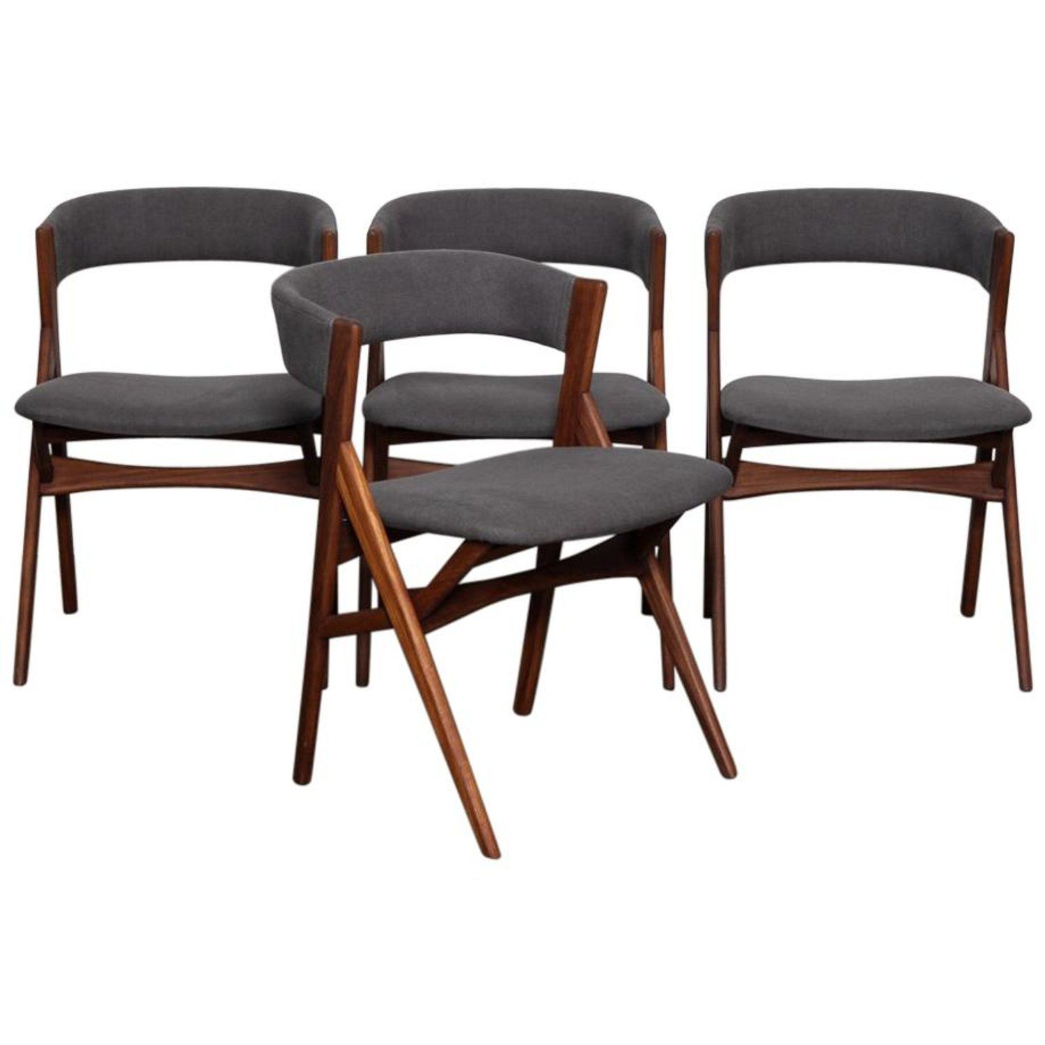 Set Of 4 Teak 1950s Curved Back Danish Dining Chairs Danish Dining Chairs Dining Chairs Teak Dining Chairs