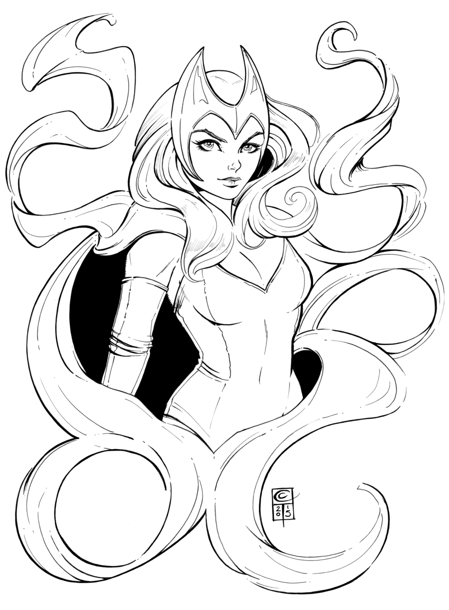 Scarlet Witch Lineart by ColletteTurner on DeviantArt to colour