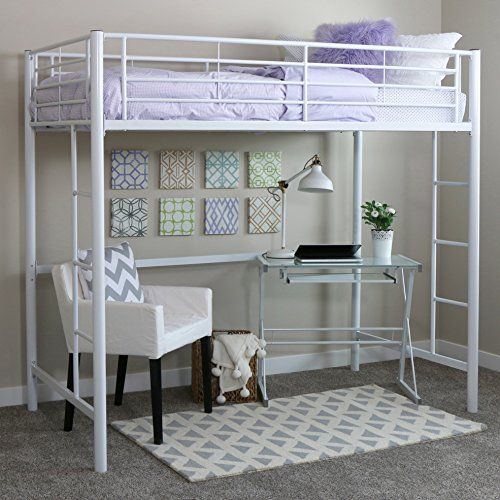 New Twin Over Loft Metal Bunk Bed With Ladder White Fini Https