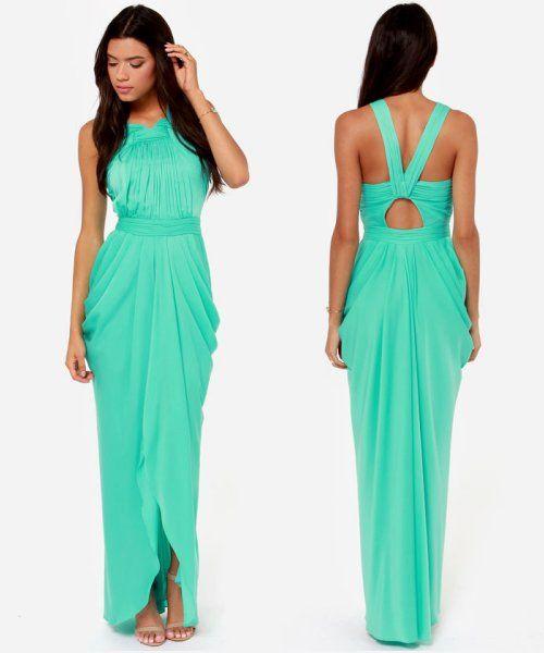 Simple Elegant 2015 Women Summer Wedding Dresses Flowing: Elegant Mint Maxi Summer Bridesmaid Dress 2014 From Lulu's