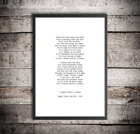 Edgar Allan Poe Printable Poetry 'A Dream Within a Dream' Instant Download Word Art Digital Print Typewriter Font Hand Typed Poem Poster #excelwordaccessetc