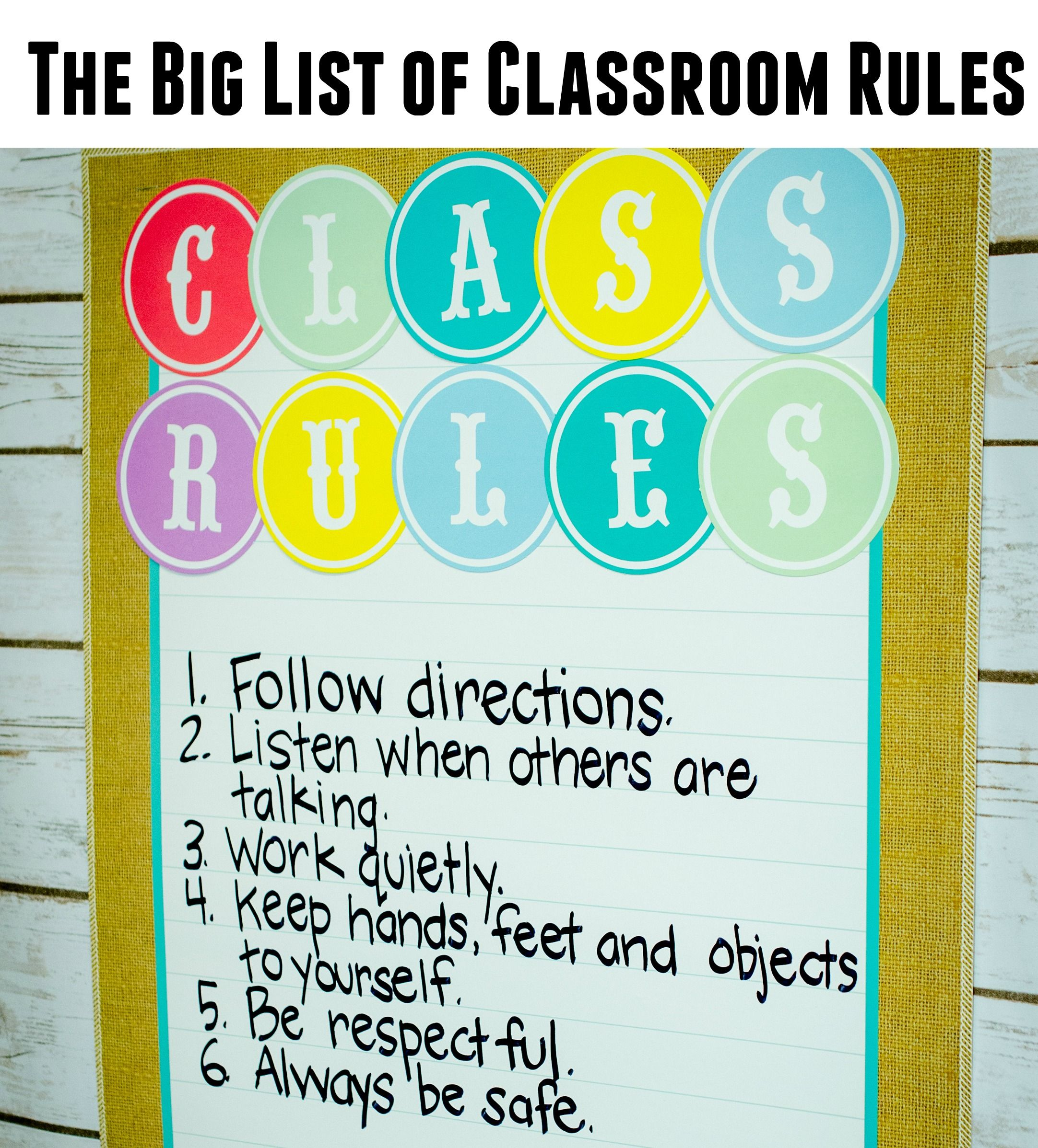 The Big List Of Classroom Rules