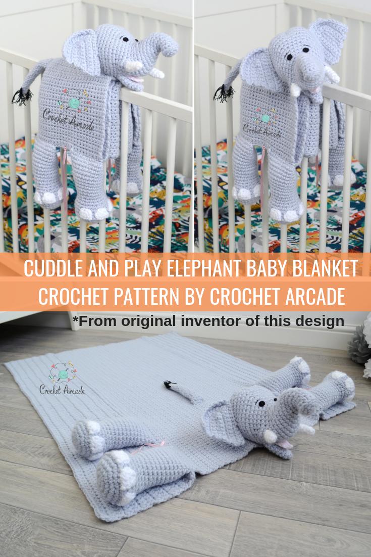 Cuddle And Play Elephant Baby Blanket Crochet Pattern Crochet Arcade Babyblanket Cud Baby Blanket Crochet Pattern Elephant Baby Blanket Baby Blanket Crochet