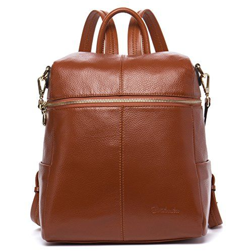 c7b2dd2a3 BOSTANTEN Geniune Leather Fashion Backpack Purse Casual School Bags for  Women Brown