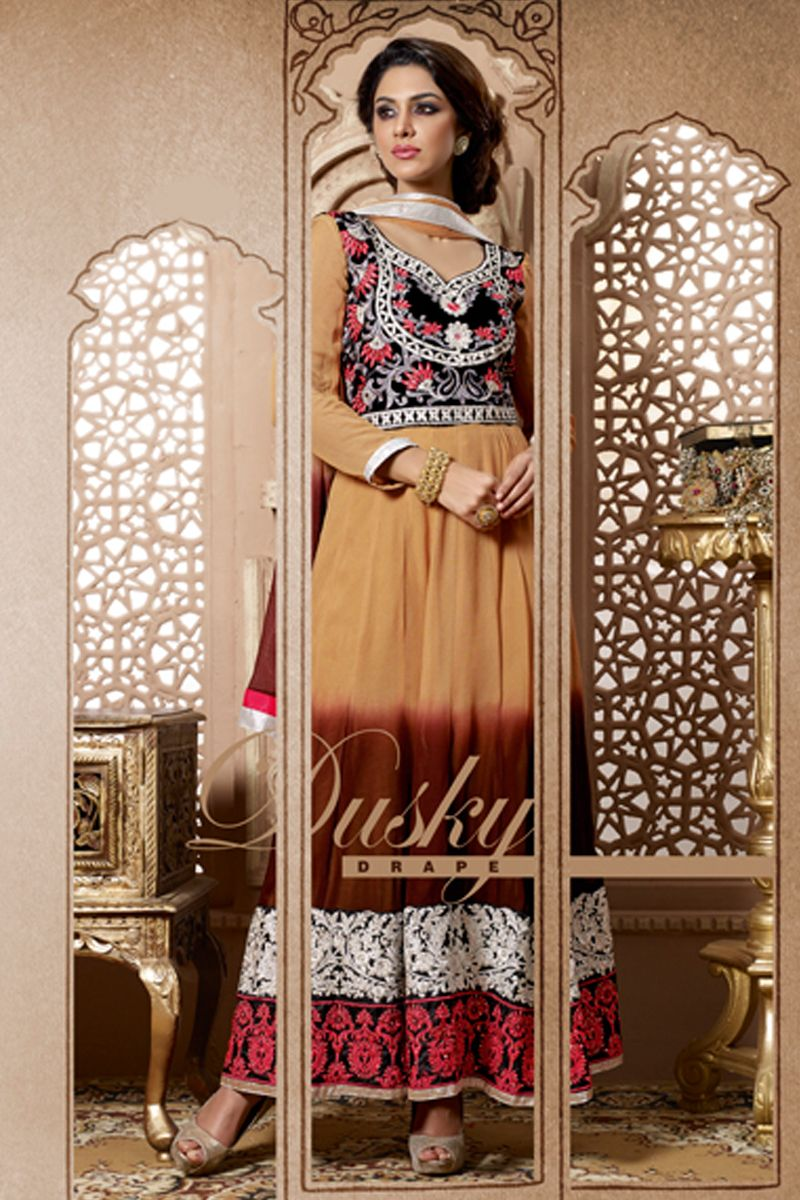 Pavitraa fashion attractive deep apricot and brown shaded anarkali