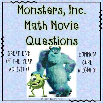 Math Movie Questions to accompany the movie Monsters, Inc Percents