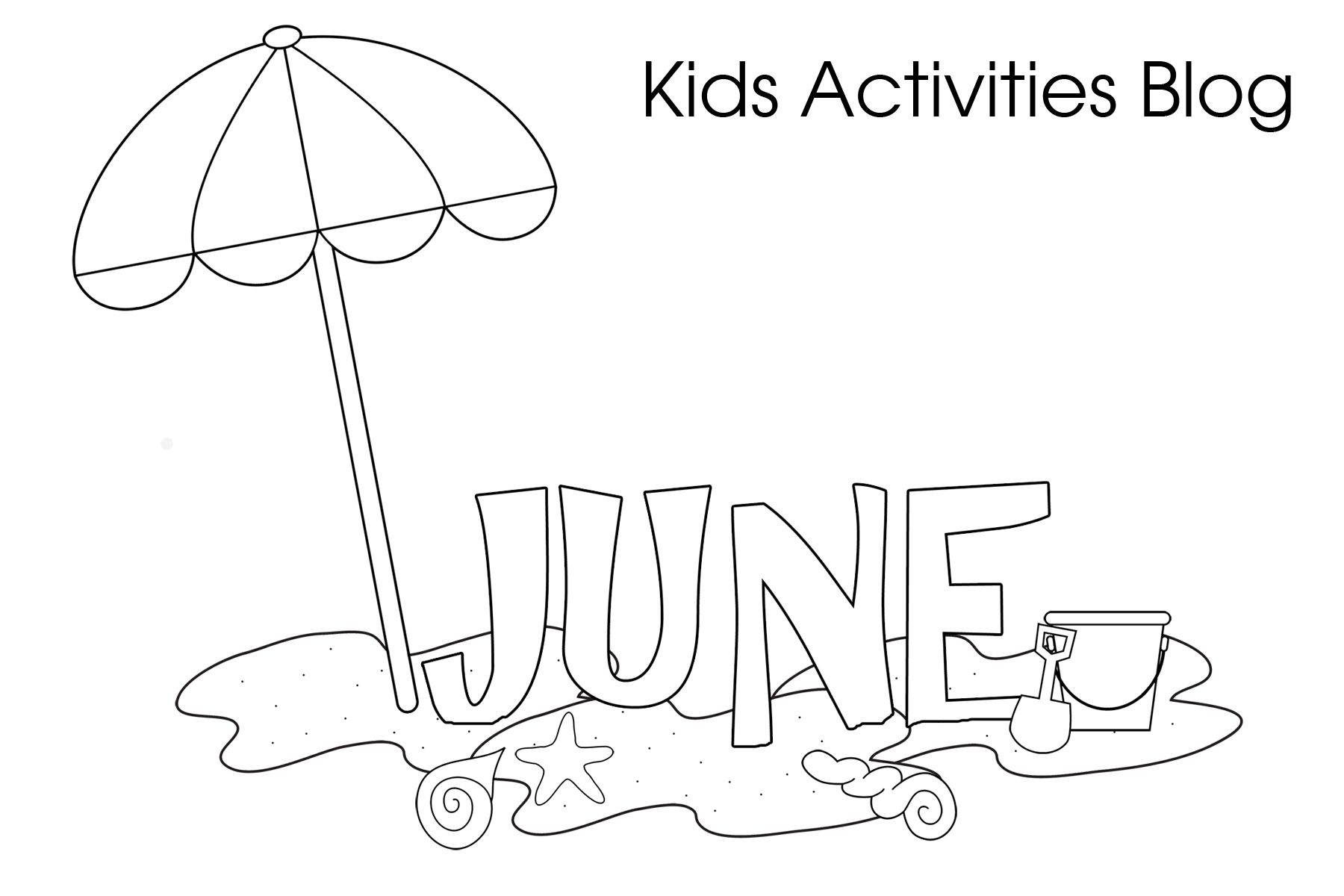 Beach Fun June Coloring Pages For Kids Pre K Kinder Coloring