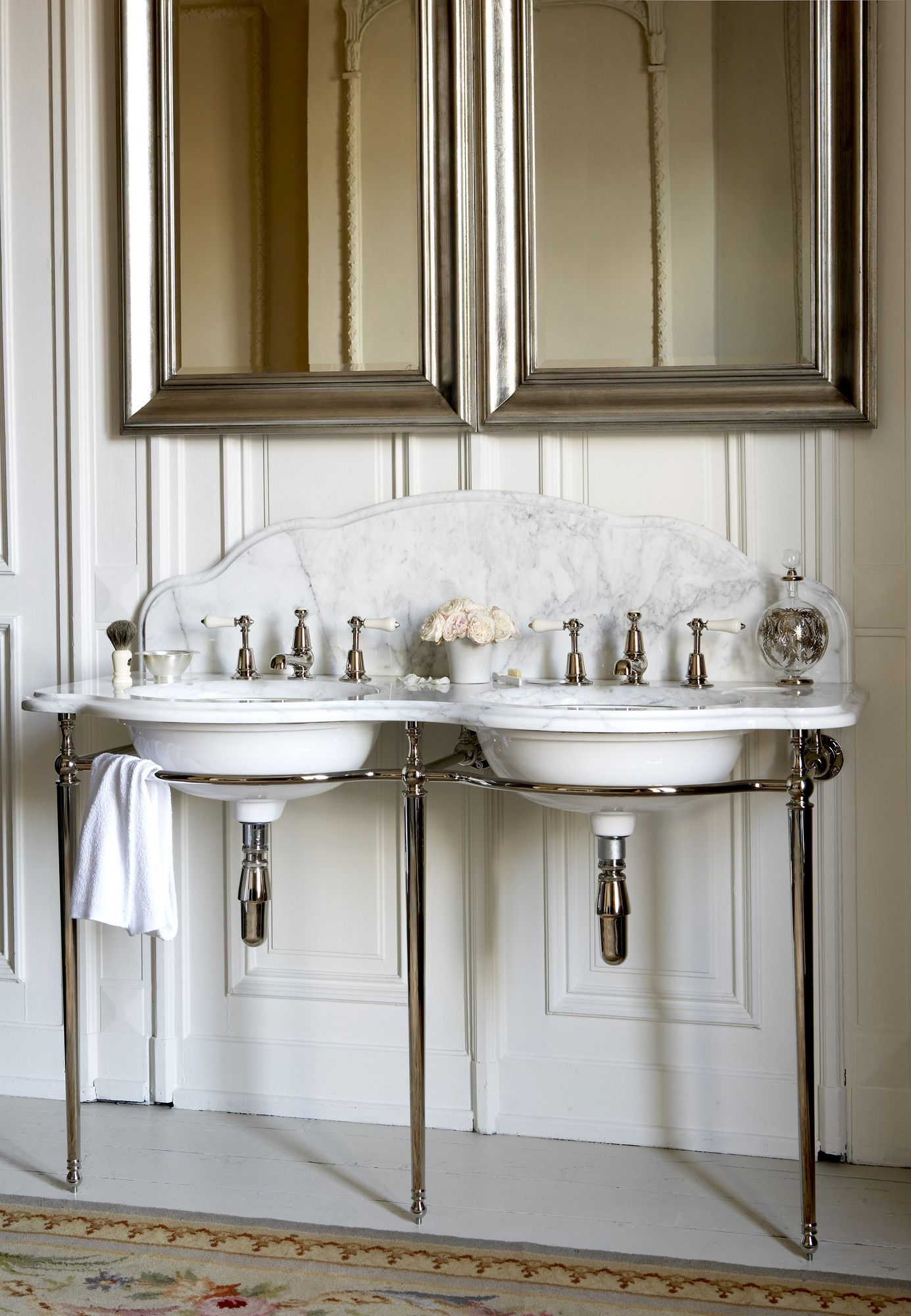 Made for two The Parisienne Double Washstand in Arabascato marble