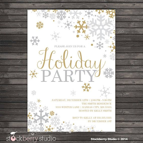Winter Holiday Party Invitation Gold Silver Winter Wonderland