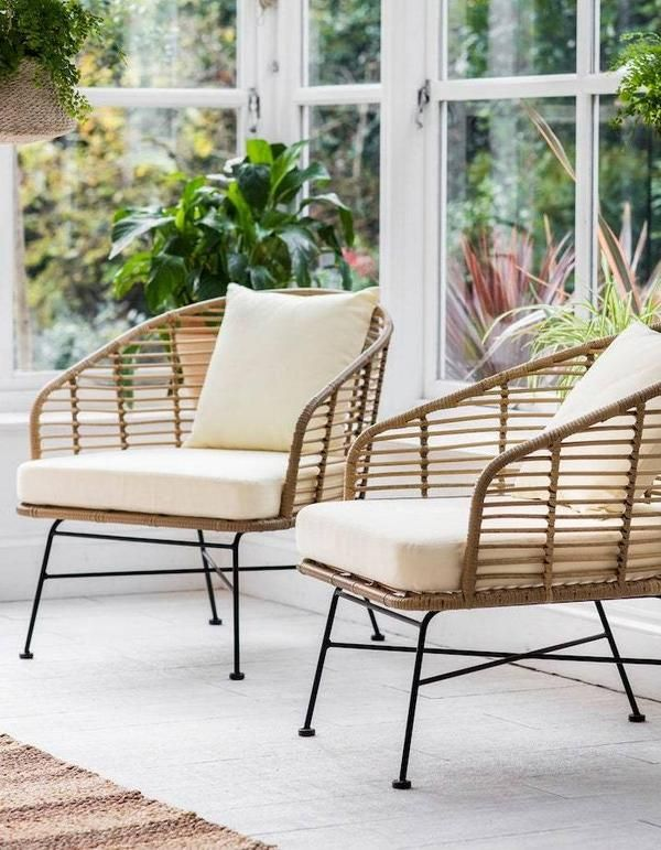 Set Of Two PE Bamboo Garden Chair