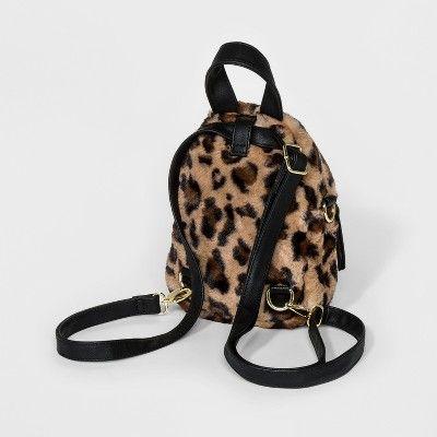 97908e4a7f0b Faux Fur Leopard Print Mini Backpack Handbag - Wild Fable Brown ...