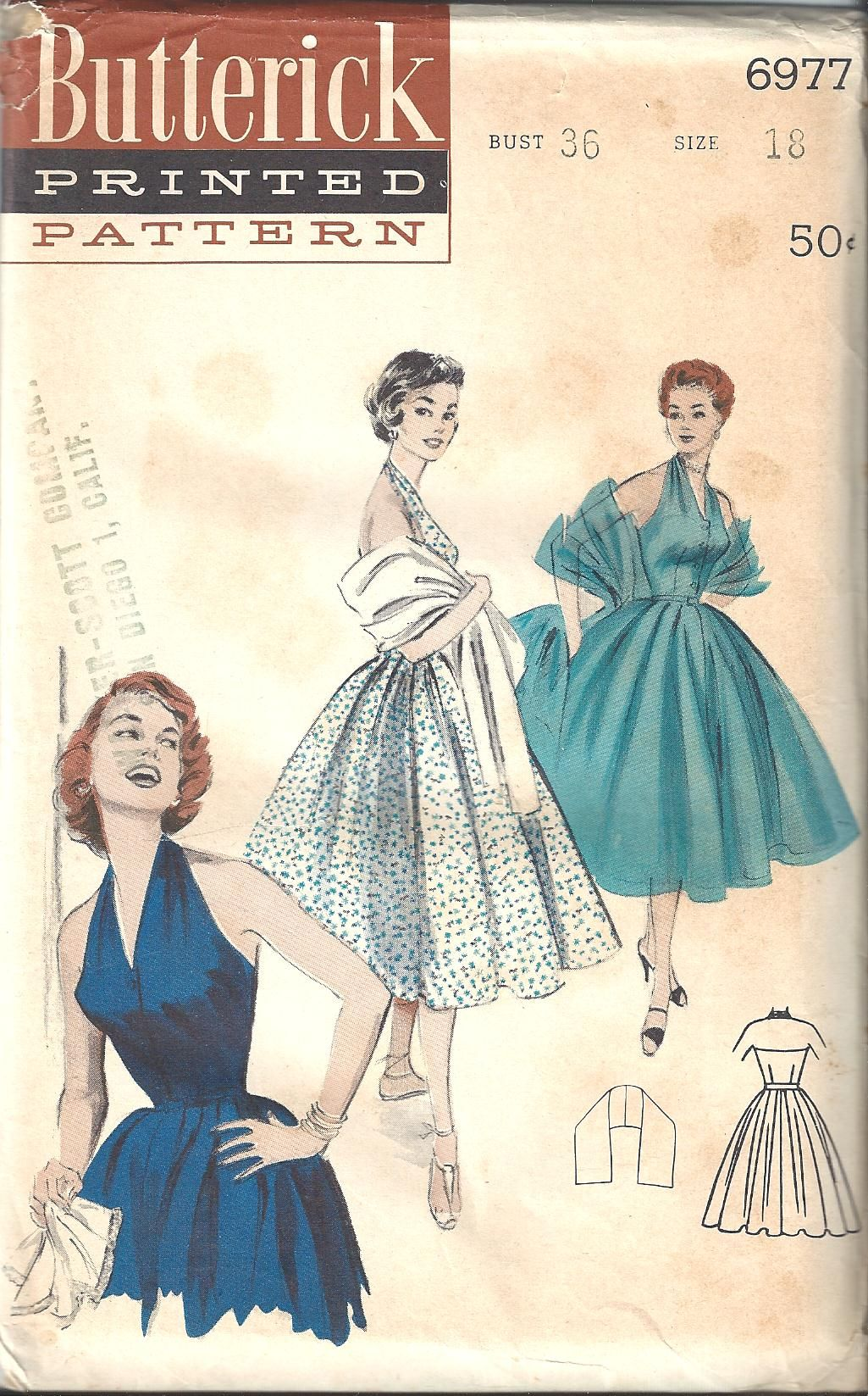 Vintage Sewing Pattern Dress Butterick 6977 | paper, printables and ...