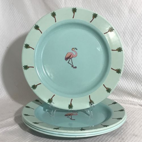 Marble Canyon Enamelware Turquoise Flamingo Dinner Plates