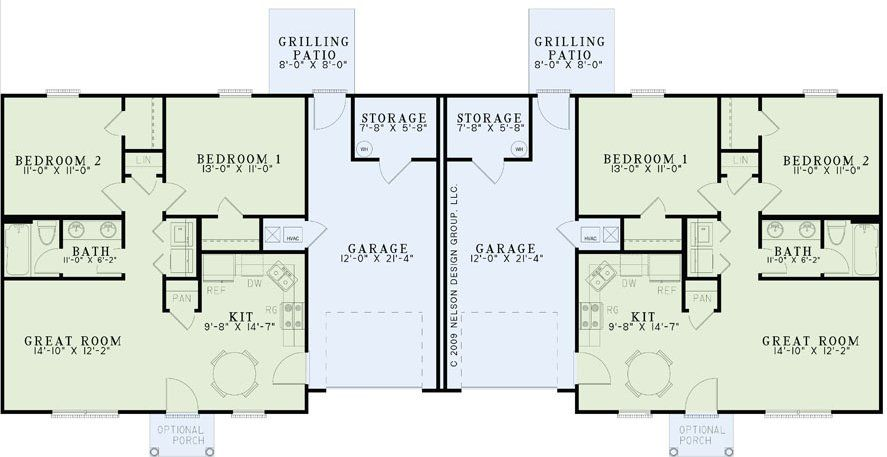 This multi family home offers square feet per unit the kitchen is open also best duplex images floor plans homes rh pinterest
