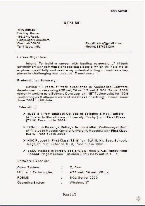 job resume format download Sample Template Example of