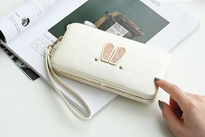 Bunny ears design Long women wallets ladies day clutch,evening bag,cellphone cases.Large Capacity Wallet Box,card holder