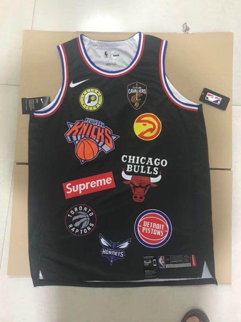 best sneakers 9f03e 0fe8e NBA+X+Supreme+18ss+x+Nike+Basketball+Jerseys+Black+and+White ...
