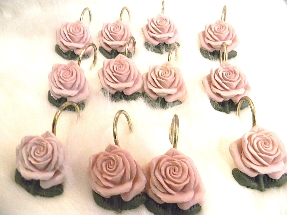 Pink Rose Shower Curtain Hooks Flower Floral Shabby Victorian #Unbranded  #Victorian