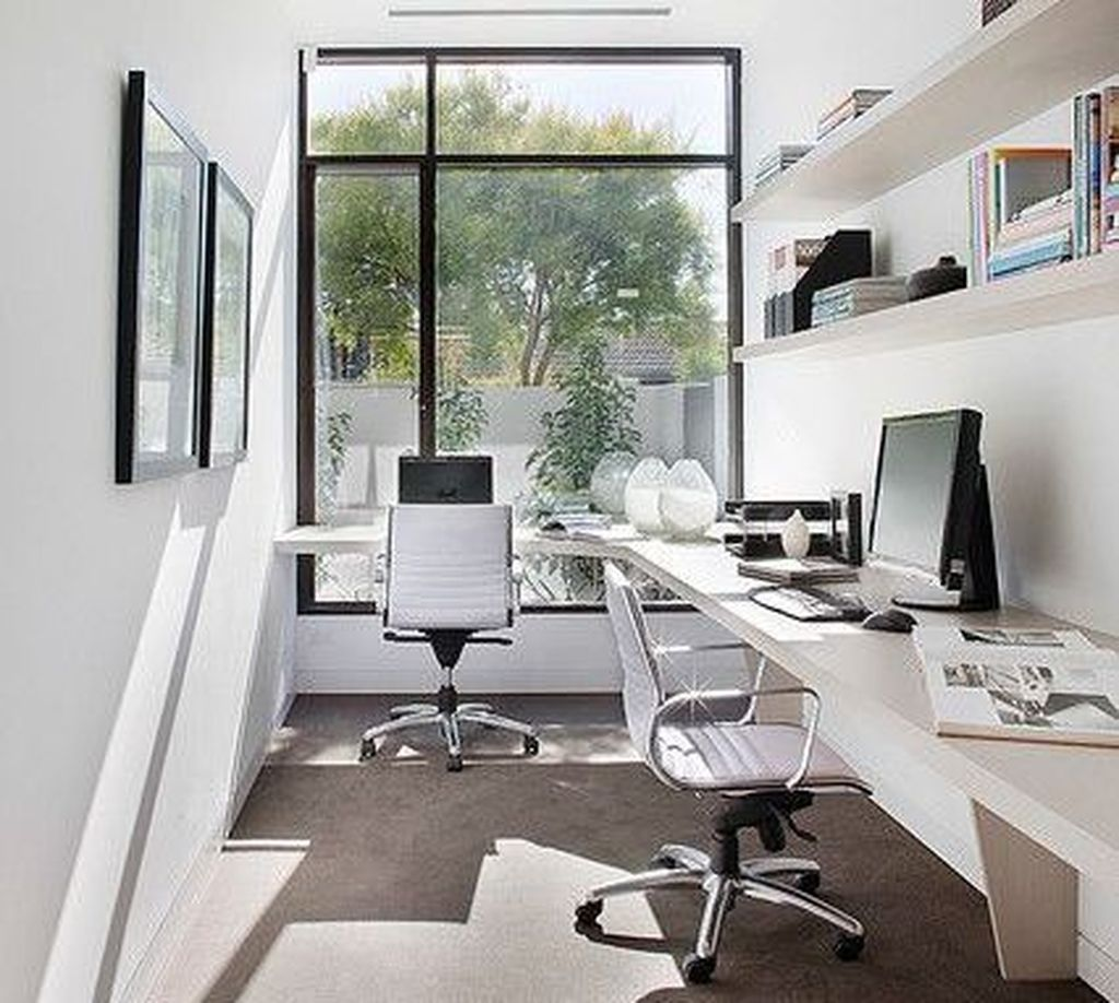 Cool 47 Simple Workspace Office Design Ideas More At Https Hoomdsgn Com 2018 09 30 47 Contemporary Home Office Contemporary Home Offices Small Office Design