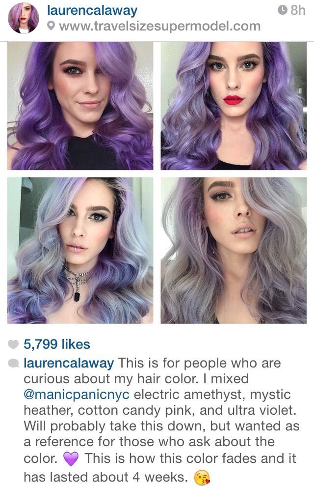 Purple Mermaid Hair Color Naturally Fading To A Pastel Violet And