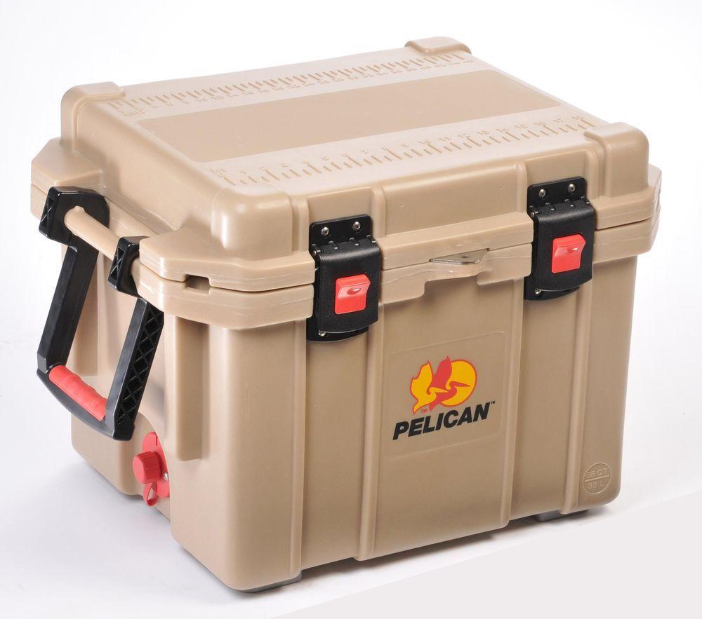 35 Quart Cooler Pelican Pro Gear Elitetan 32 35q Oc Tan Keeps Ice Up To Ten Days Pelican Cooler Marine Coolers Pelican Elite Cooler