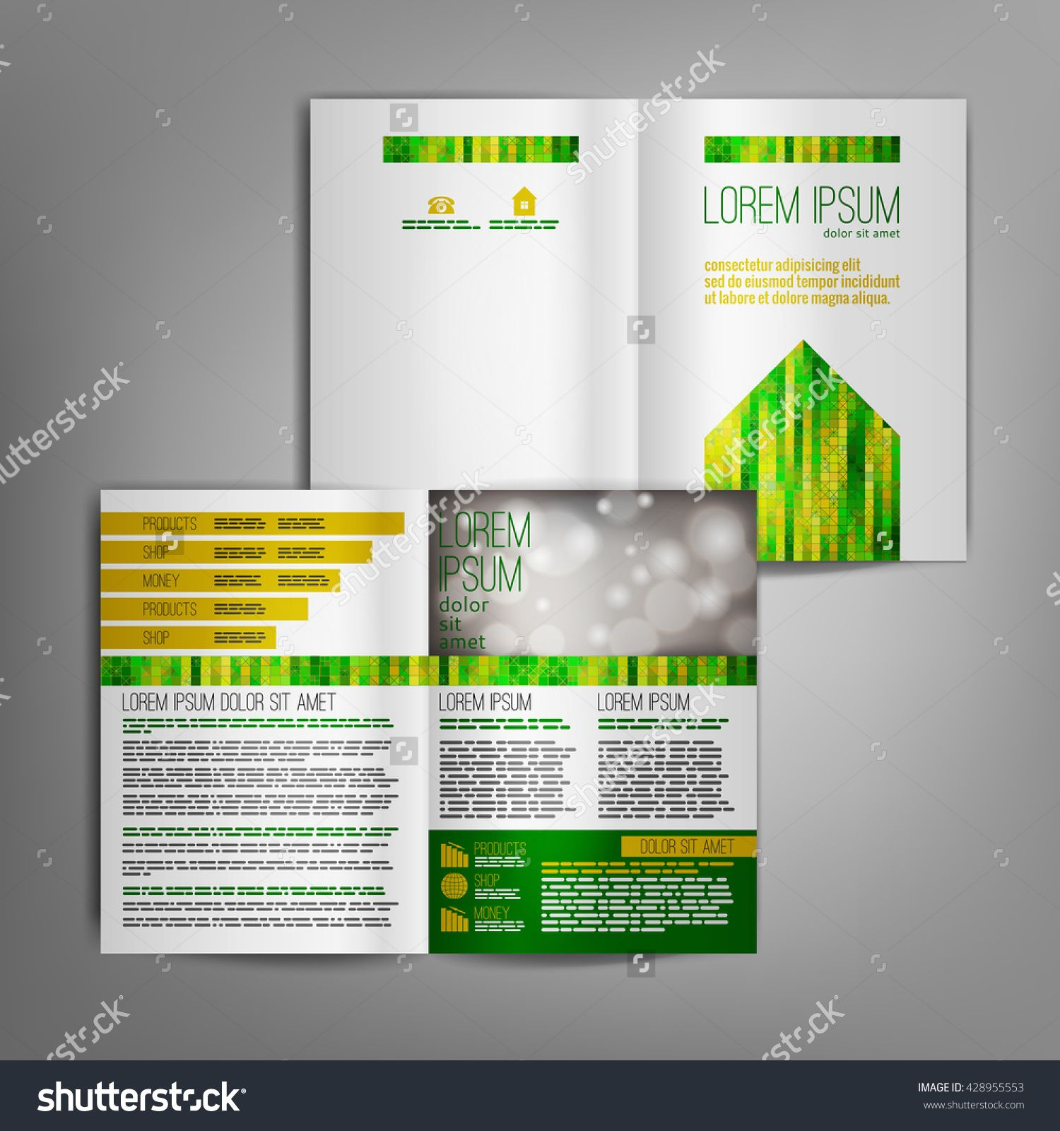 Elements of a poster design - White Business Brochure Design Template With Green And Yellow Arrow Elements Vector Flyer Layout