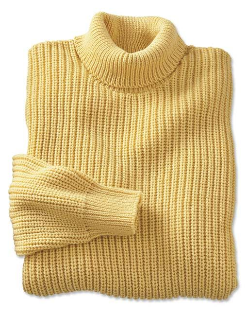 The robust yet simple Shaker stitch adds substantial warmth without excess weight, making this pure cotton turtleneck sweater an ideal layer under a vest or sport coat. It also looks great when worn with jeans or khakis. Rib-trim finish at neck, cuffs, and hem. Pure cotton. Washable. Made in USA.  <br />Sizes: M(38-40), L(42-44), XL(46-48), XXL(50-52).