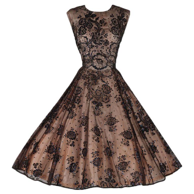 Vintage 1950's Mauve Flocked Illusion Cocktail Dress   Abiti da ...