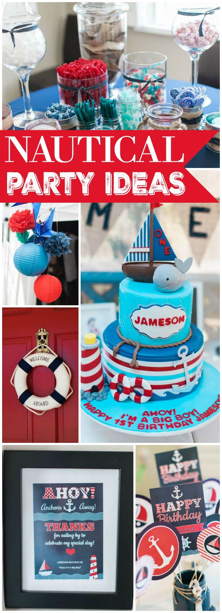 How Fun Is This First Boy Birthday Party With A Nautical Theme See More Ideas At CatchMyParty