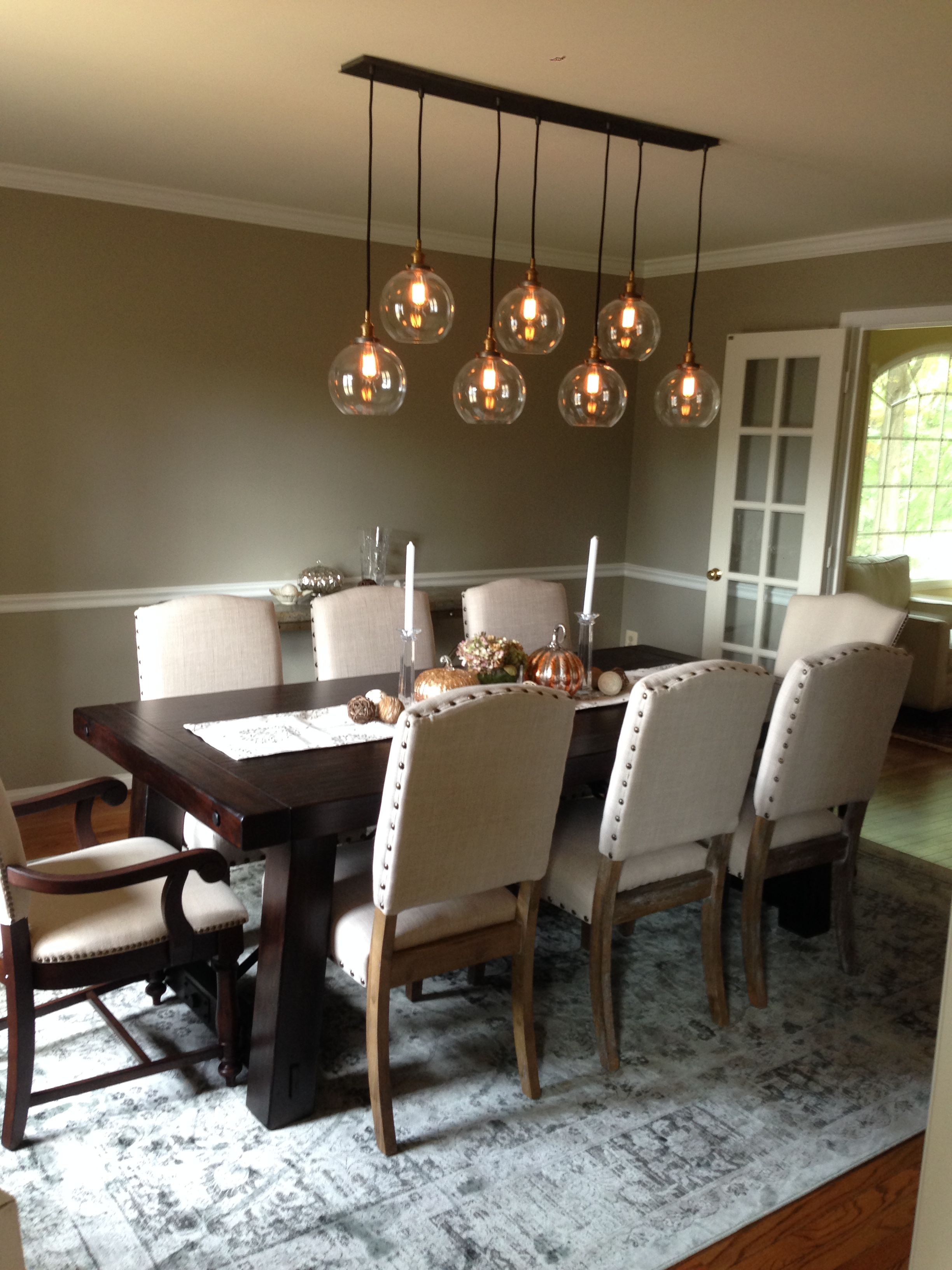 Dining Room Remodel: Restoration Hardware 20th C. Factory Filament Clear  Glass Cafe Rectangular Pendant And Pottery Barn Benchwright Large Extending  Table
