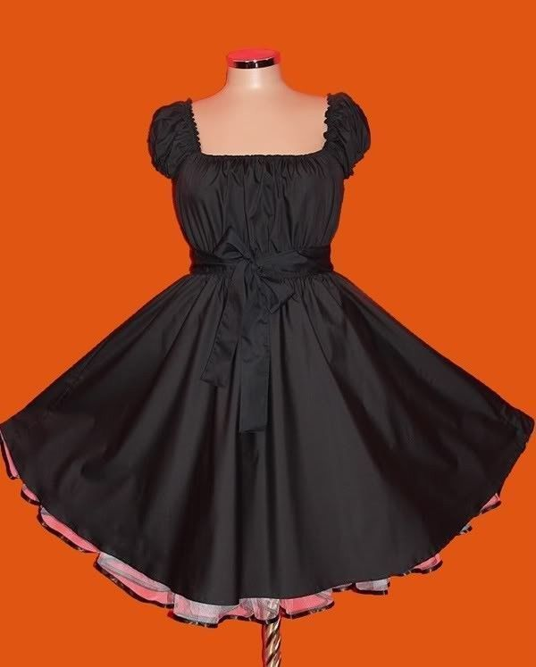 7c10f2259d9 50s BLACK ROCKABILLY SWING DRESS 24 26 28 Plus Size eMo Gothic Pin Up eMo  Retro