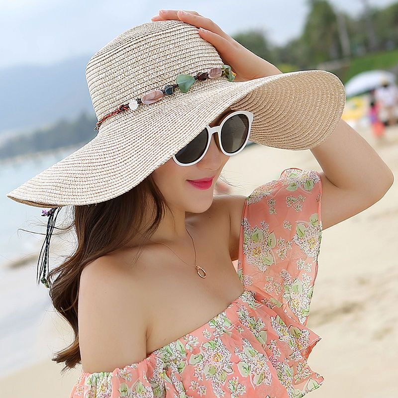 9f80bfebc93b17 Women Hat Wide Brim Straw Beach Hats Outdoor Floppy Fold Hats Sun Protection
