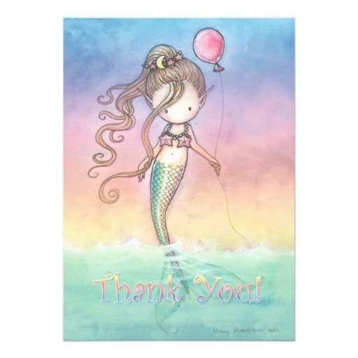 Set of Mermaid Birthday Thank You Notes Personalized Invite