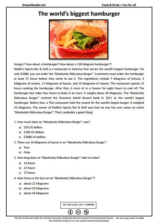 Free esl worksheet all about the worlds biggest burger http free esl worksheet all about the worlds biggest burger httpdreamreader forumfinder Choice Image
