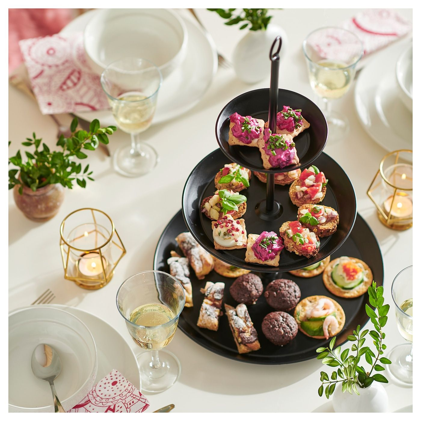 Vinterfest Serving Stand 3 Tiers Black In 2020 Serving Dishes Food Ikea