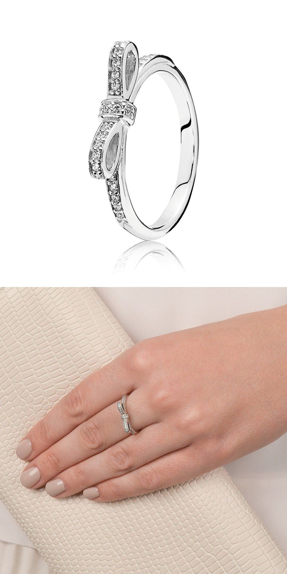 0b27f1522 ... Rings 67681 Authentic Pandora 925 Silver Sparkling Bow Stackable Ring  190906Cz Size 8.5 58 ...