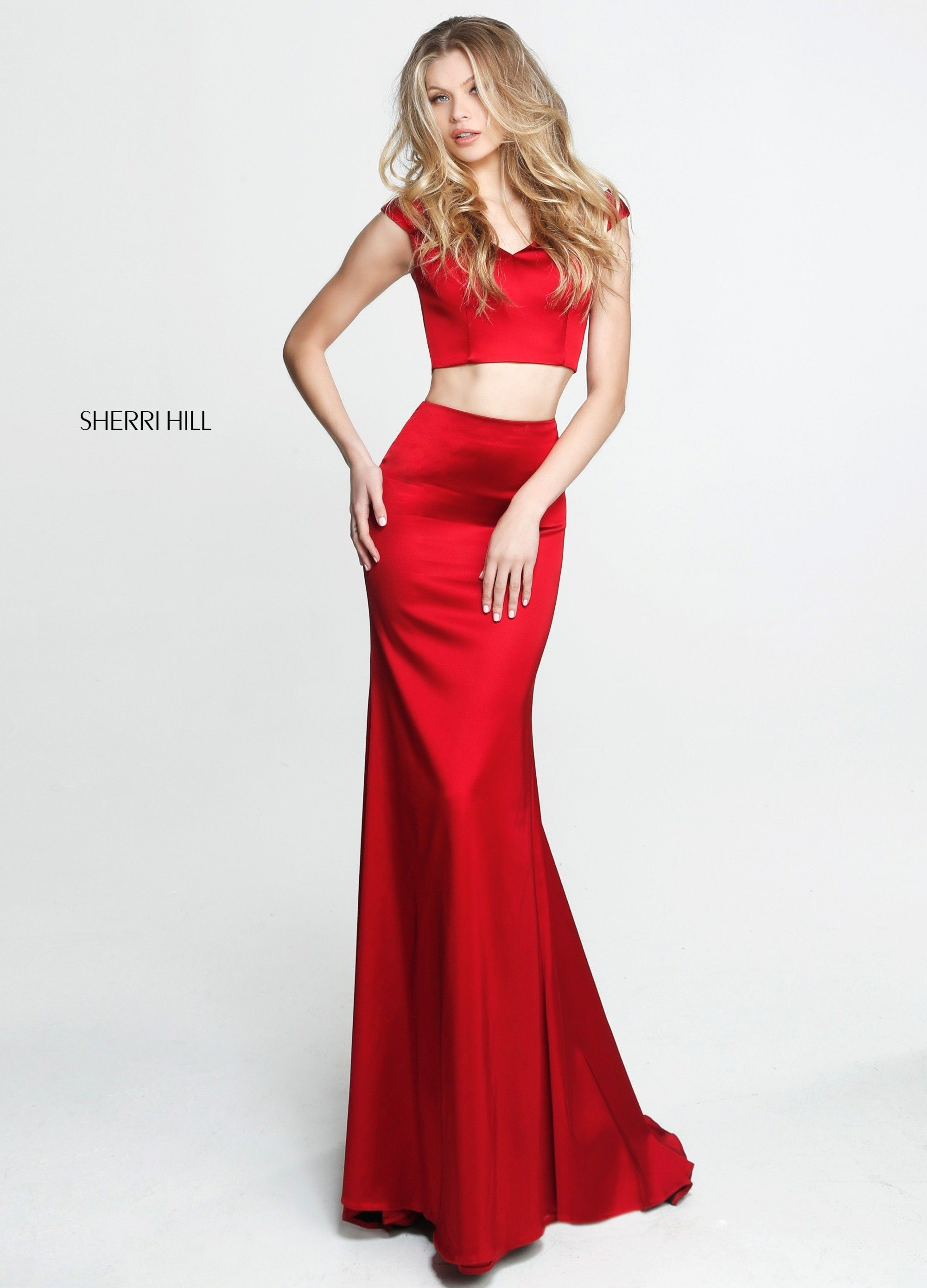 47c7daeef2f Sleek and sexy two piece evening gown with v-neck cap sleeve crop top and  slim fit and flare satin long ...