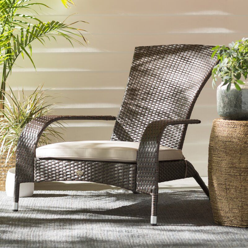 Mitchem Adirondack Patio Chair With Cushions In 2020 Patio Chairs Lounge Chair Outdoor Porch Chairs