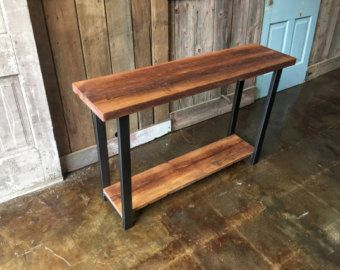 Metal Hall Table solid wood console table reclaimed scaffold plank console