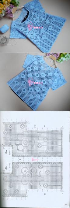 Туника филейным узором. Схема летней кофточки в филейной технике |