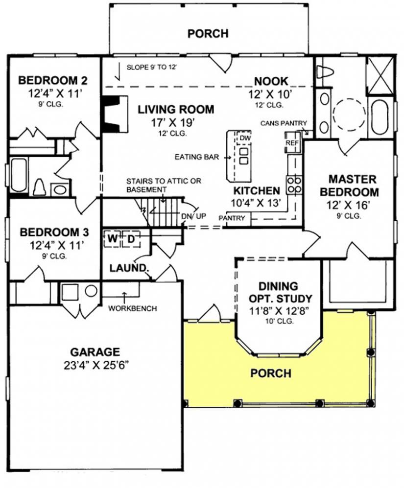 655852 1 Story Country Farmhouse 3 Bedroom 2 Bath With Open Floor Concept House Plans Floor Plans Home Plans Plan I House Plans Floor Plans How To Plan