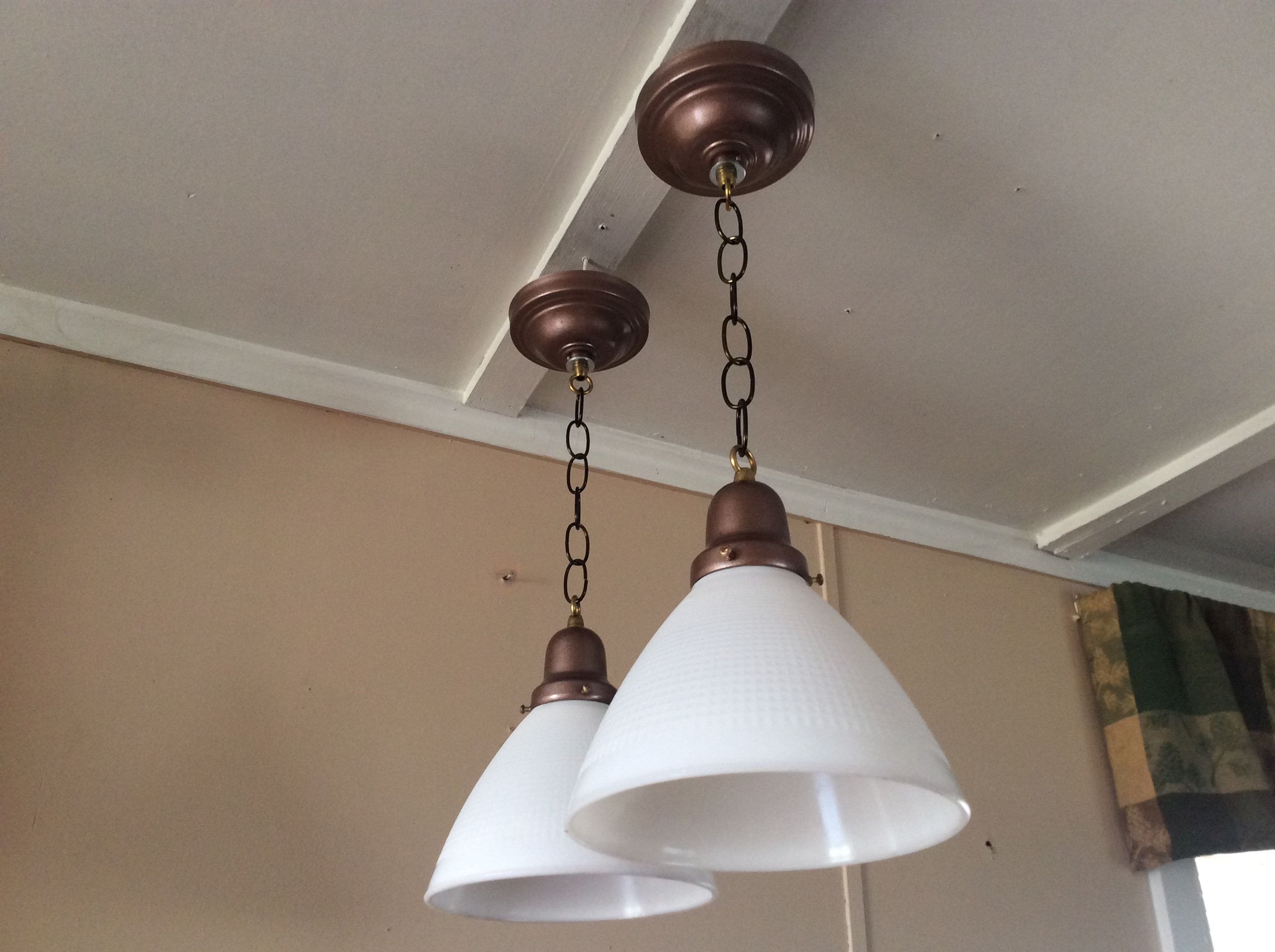 Vintage Pair Of Milk Glass Pendant Lights 1930s Industrial Conical Glass Pendant Light Antique Lighting Glass Lighting