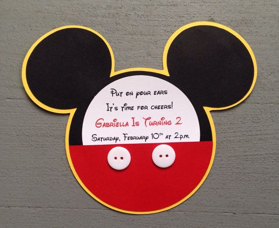 Newcustom Handmade Inspired Mickey Mouse Invitations With Mit