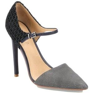 L.A.M.B. Navy calf hair and grey leather 'Will' ankle strap stiletto pumps